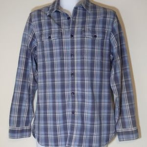 Dockers blue plaid button up long sleeve shirt M